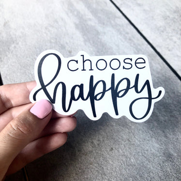 Choose Happy (Black) Sticker