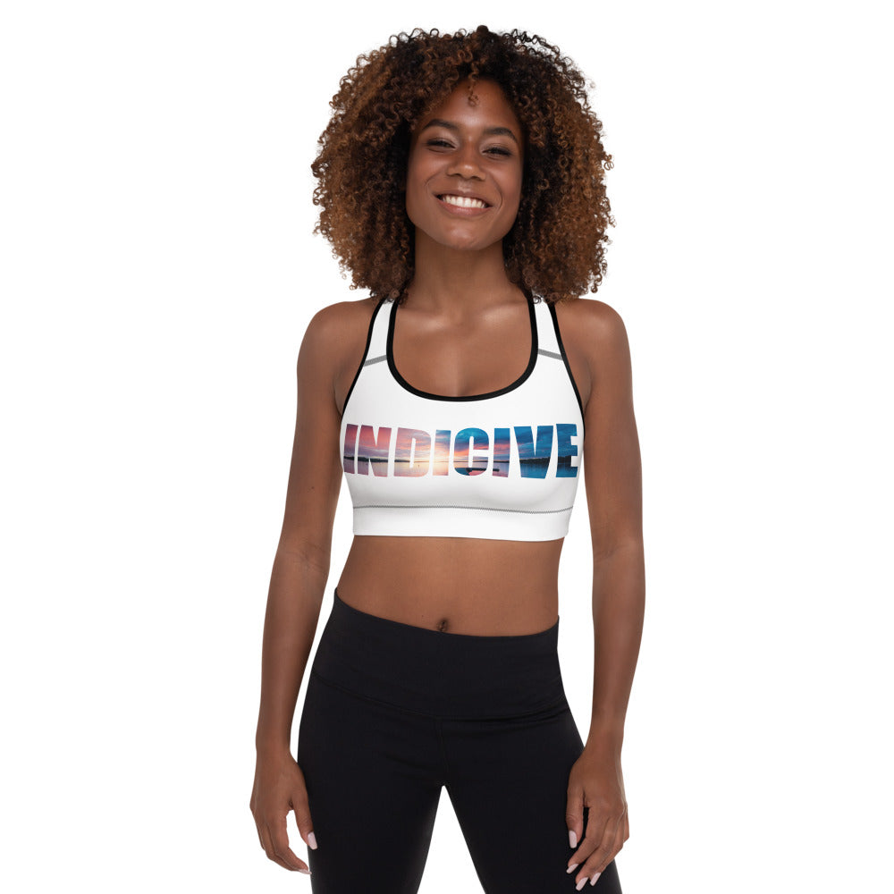 Indicive Sunset - Padded Sports Bra (White)