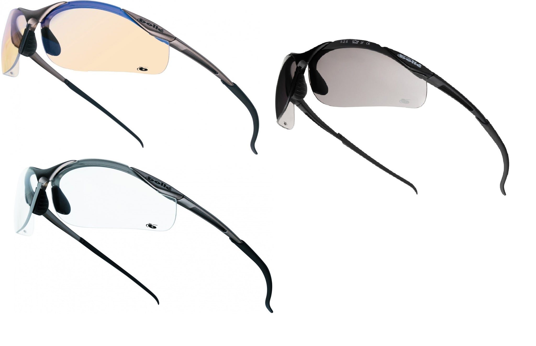 BOLLE Contour METAL FRAMES Smoke Lens Safety Cycling Sunglasses FREE BOLLE POUCH
