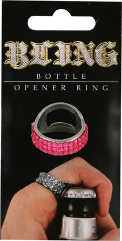 Pink Bling Bottle Opener Ring