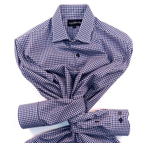 NAVY GINGHAM CHECK WITH CUFF TRIM - SINGLE CUFF