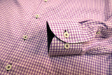 LILAC GINGHAM CHECK WITH NAVY CUFF TRIM - SINGLE CUFF