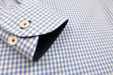 AQUA GINGHAM CHECK WITH CUFF TRIM - SINGLE CUFF
