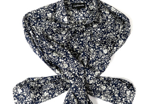 LIBERTY NEUTRAL & NAVY FLORAL PRINT - SINGLE CUFF