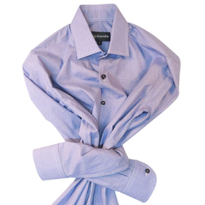 BLUE PINPOINT WEAVE WITH CUFF TRIM - SINGLE CUFF