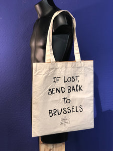 "Tote bag ""If lost, send back to Brussels"" - Visual Psychosis"