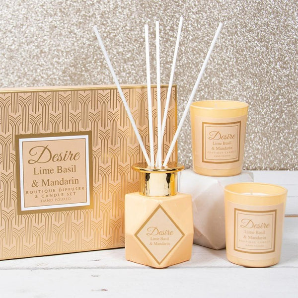 DESIRE BOUTIQUE DIFFUSER & CANDLE SET - LIME BASIL Gainsborough