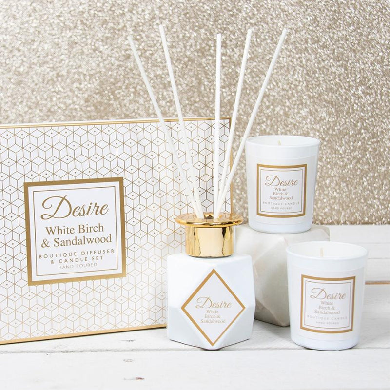DESIRE BOUTIQUE DIFFUSER & CANDLE SET - WHITE BIRCH Occassionz Ltd.