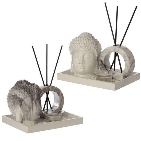 Marble Effect Buddha Head Tea Light and Decorative Reed Holder Occassionz Ltd.
