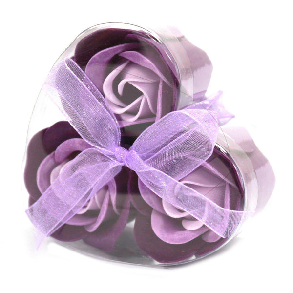 Set of 3 Soap Flower Heart Box - Lavender Roses Ancient
