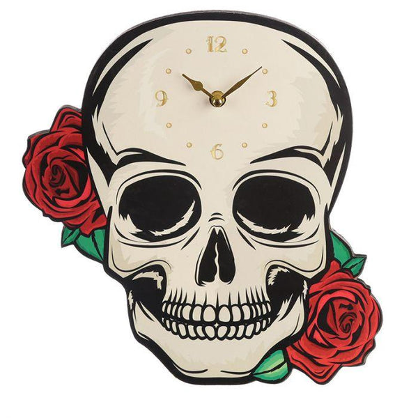 Skulls and Roses Shaped Picture Clock Occassionz Ltd.