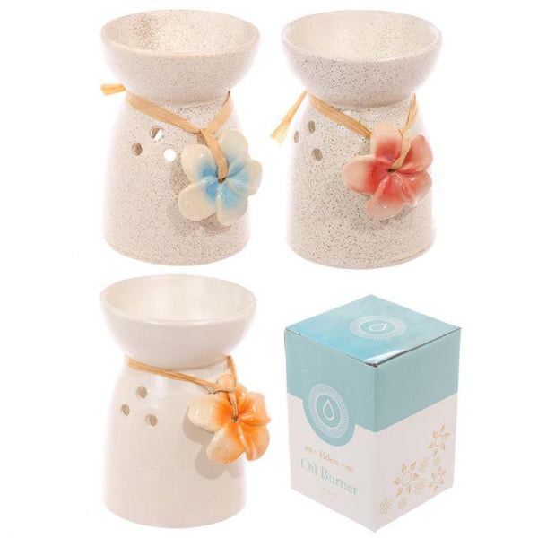 Speckled Cream Ceramic Oil Burner with Flower Occassionz Ltd.