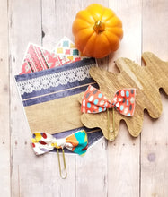 Load image into Gallery viewer, COMBO Autumn Abstract Fabric & Bow Paper Clip Set (Harvest Multi Yellow Red Orange Turquoise)