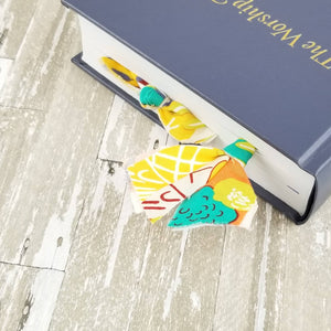 COMBO Autumn Abstract Fabric & Bow Paper Clip Set (Harvest Multi Yellow Red Orange Turquoise)