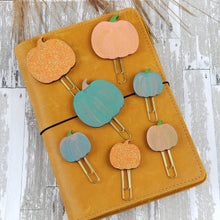 Load image into Gallery viewer, Wood Pumpkin Paper Clip - Planner / Bible Journaling / TN Accessory