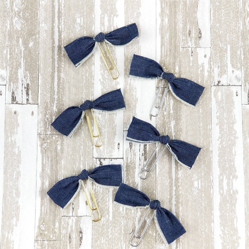 Denim Knot Bow Paperclip (Blue Navy Jean) - Planner / Bible Journaling / TN Accessory