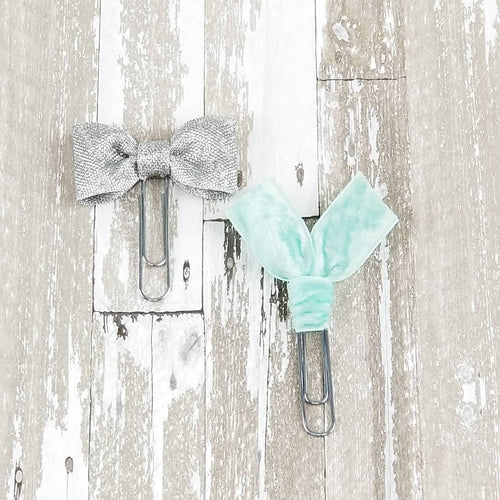 COMBO Silver Bow & Mint Velvet Ribbon Paper Clip Set - Planner / Bible Journaling / TN Accessory