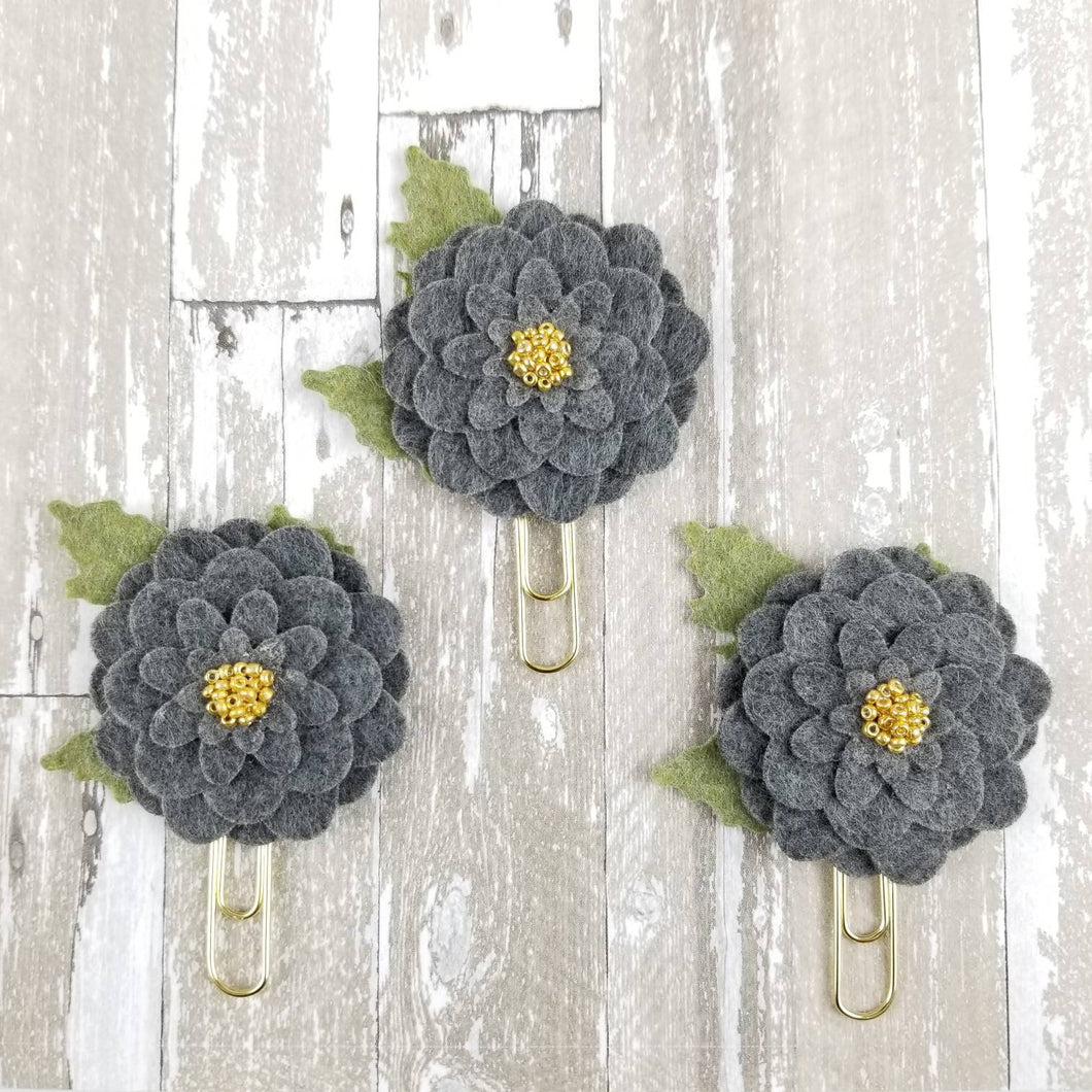 Deluxe Gold Grey Felt Flower Paperclip - Planner / Bible Journaling / TN Accessory