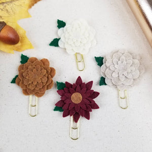 Neutral Circle Felt Flower Paperclip (Brown Cream Ivory) - Planner / Bible Journaling / TN Accessory