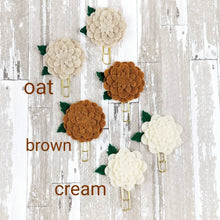 Load image into Gallery viewer, Neutral Circle Felt Flower Paperclip (Brown Cream Ivory) - Planner / Bible Journaling / TN Accessory