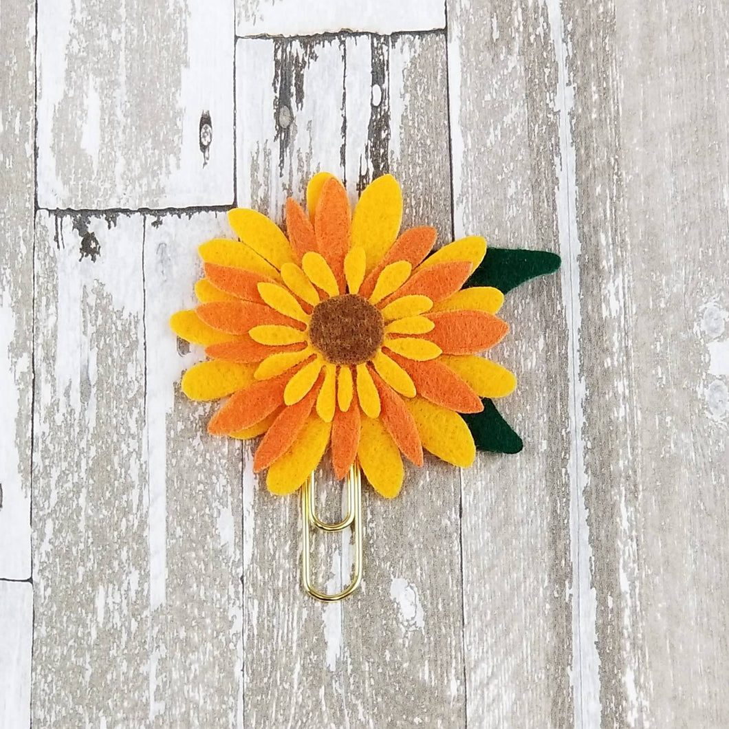 Yellow & Orange Sunflower Felt Paperclip - Planner / Bible Journaling / TN Accessory