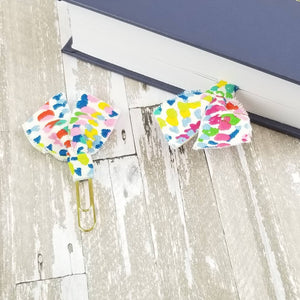 Multi Dot Fabric Paper Clip (Pink Blue Green Yellow) - Planner / Bible Journaling / TN Accessory