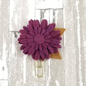 Plum Raspberry Felt Flower Paperclip - Planner / Bible Journaling / TN Accessory