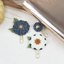 Load image into Gallery viewer, Gray Gold Button Felt Flower Clip - Planner / Bible Journaling / TN Accessory