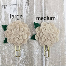 Load image into Gallery viewer, Oat Neutral Circle Felt Flower Paperclip (Medium) - Planner / Bible Journaling / TN Accessory