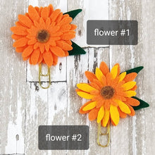 Load image into Gallery viewer, Imperfects* Sunflower Felt Flower Paperclip (Orange Yellow)