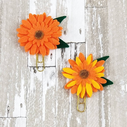Imperfects* Sunflower Felt Flower Paperclip (Orange Yellow)