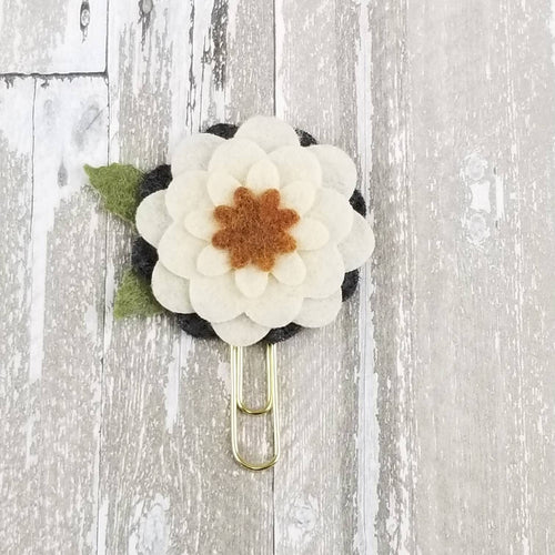 Tri Neutral Circle Felt Flower Paperclip (Cream Ivory Brown Gray)