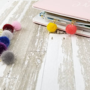 Fuzzy Pom Pom Dangle Paperclip - Planner / Bible Journaling / TN Accessory