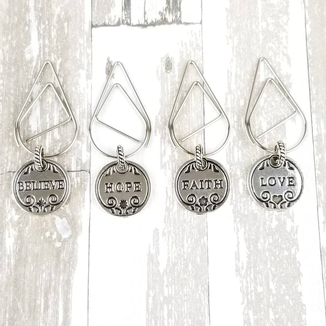 Inspiration Silver Nickel Dangle Clip | Believe Faith Hope Love |