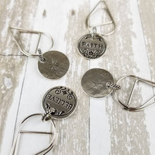 Load image into Gallery viewer, Inspiration Silver Nickel Dangle Clip | Believe Faith Hope Love |