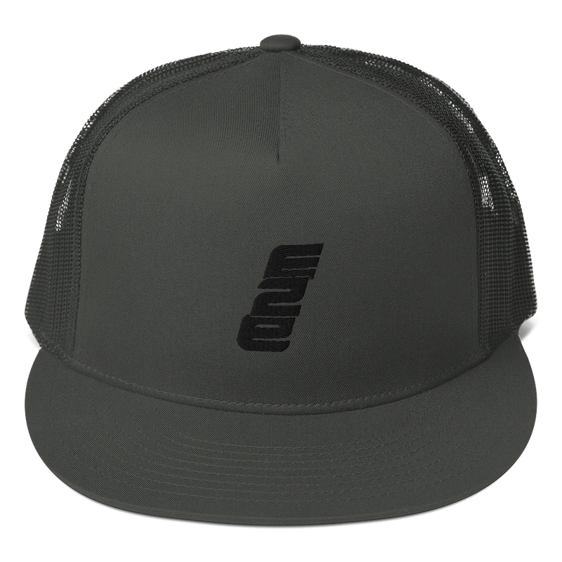 e2E Stacked Black Logo Flat Bill Snapback