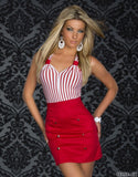 Red Black fashion stripes stitching slim plus size clubwear