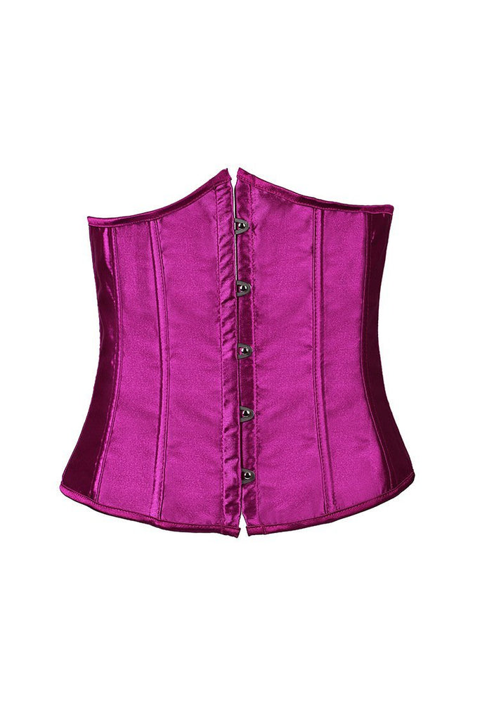 Purple Pink Short paragraph solid color satin bone corset