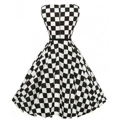White and Black personality latticet plus size dress