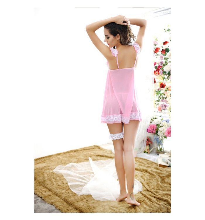 Fashion classy princess lace suspenders pink sexy lingerie sleepwear