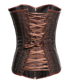 Brown Vintage punk wind zipper back strap leather corset