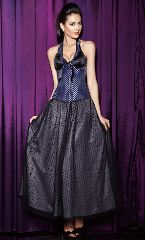 Classic court polka dot shoulder strap with cup body shaping corset