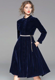 Fashion temperament collar high-end Royal Blue Dresses for Women