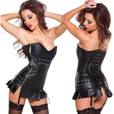 Leather Dress style buckle black plus gold plus silver two-color Leather corset