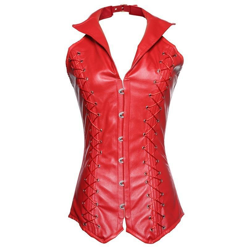 Leather  red black  hanging neck Gothic suit collar buckle corset