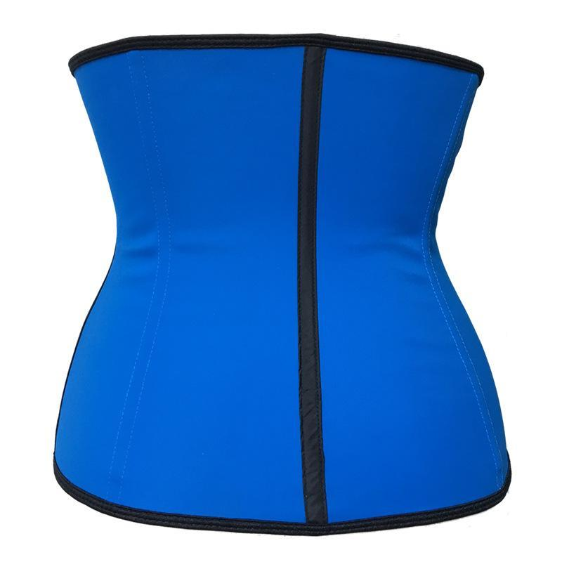 Pink Blue Purple 3 rows of large buckles sports rubber beam waist latex corset