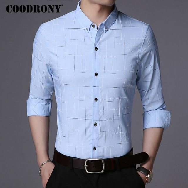 Free shipping COODRONY Men Shirt Men's Business Casual Shirts Men Brand Clothes New Arrival Cotton Plaid Long Sleeve
