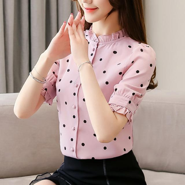 Women Spring Summer Style Blouses Shirts Lady Casual Elegant Short Flare Sleeve Stand Collar Polka Dot Tops