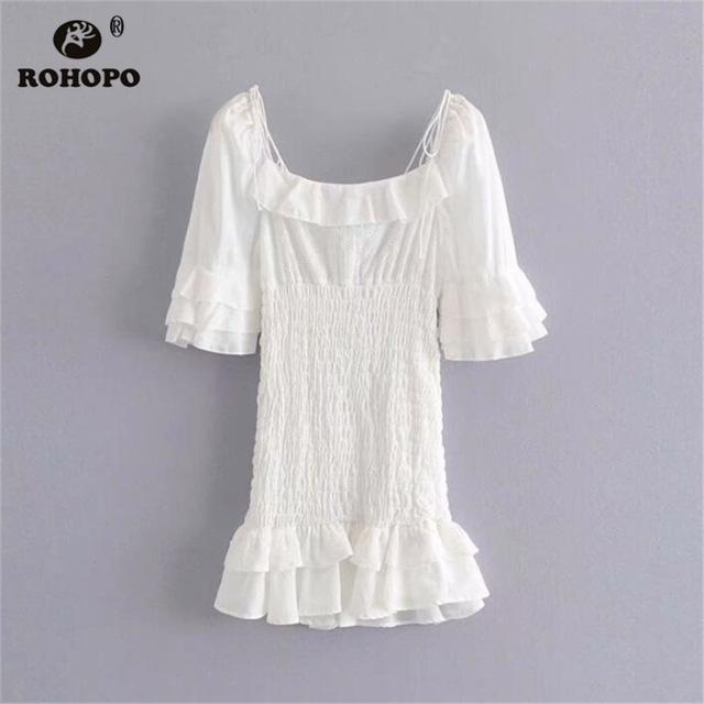 ROHOPO Women Cotton Patchwork Tube White Dress Butterfly Half Sleeve Ruffles Hem Cake Draped Preppy Girl Mini Dress #AZ9295