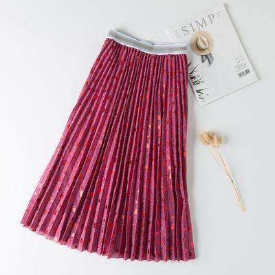 Sweet Hearts Dobby Metallic Gauze Long Pleated Skirt Shimmering Cute Dotted Mid Calf Long Skirts
